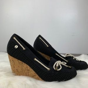 The Sak Newport Katie Black Cork Wedge Heels